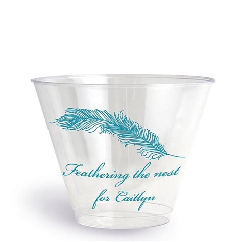 9 Oz Custom Printed Clear Plastic Baby Shower Tumbler Cups