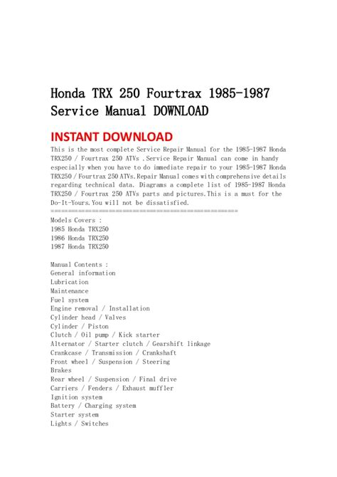 service and repair manuals 1987 honda accord electronic valve timing honda trx 250 fourtrax 1985 1987 service manual download