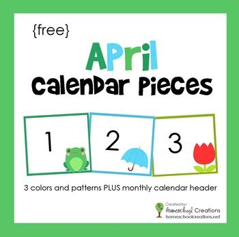printable calendar pieces free april pocket chart calendar cards free homeschool