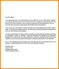teachers aide cover letter letter of recommendation for assistant sle