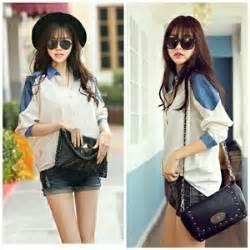 Atasan Kemeja Hem Cewek Lengan Panjang Kotak Moca Blouse baju hem wanita lengan panjang warna putih cantik modis