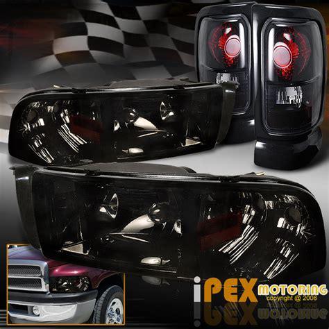 smoked headlights and lights dodge ram 1500 2500 3500 shiny smoke headlights black