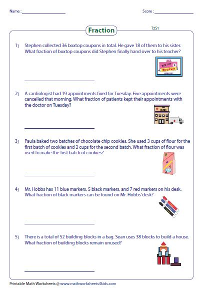 Fraction Word Problem Worksheets by Division Of Fractions Word Problems Worksheet Boxfirepress