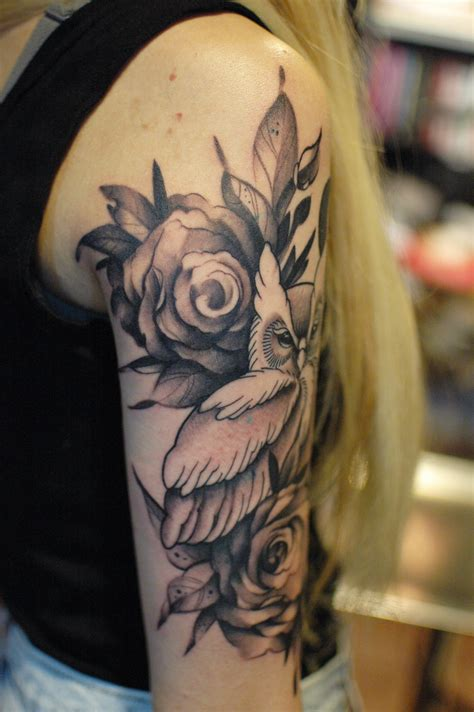 owl and rose tattoo owl with roses black and gray on sleeve