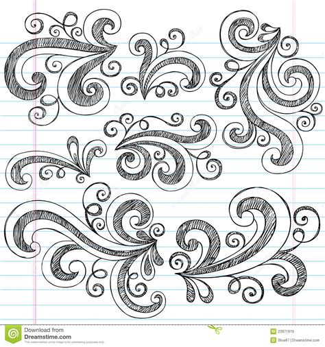 free doodle vector set swirls sketchy notebook doodles vector set royalty free
