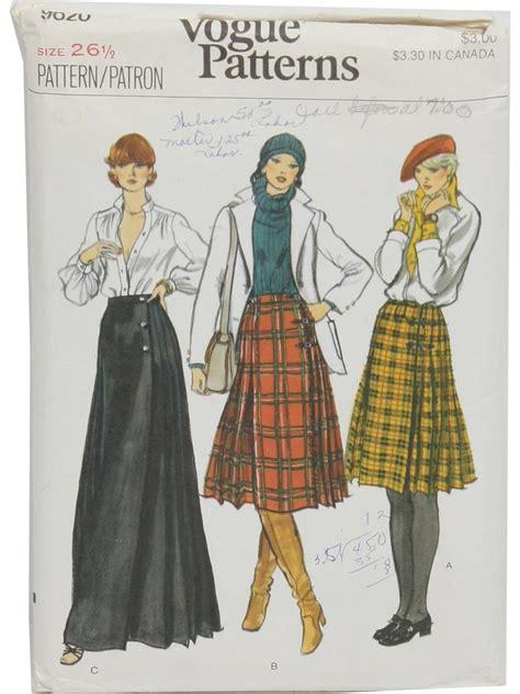 sewing pattern kilt 1980 s vintage vogue pattern no 9620 sewing pattern 80s