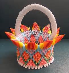 Paper Basket Origami - 3d origami flower by flower basket paper crafts