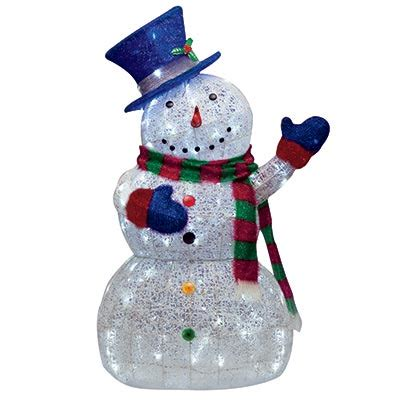 Lighted Outdoor Snowman 48 Quot Led Lighted Sugar Thread Snowman Lights