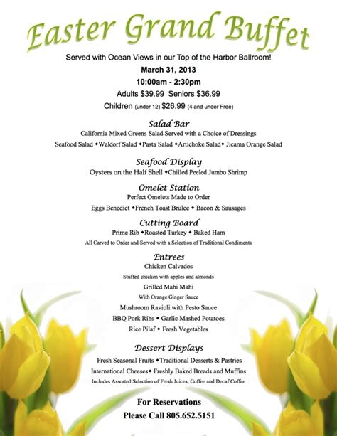 easter brunch buffet menu ideas we ve updated the menu crowne plaza ventura promotions and d