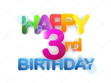 happy 3rd birthday images happy 3rd birthday title light stock photo 169 mail