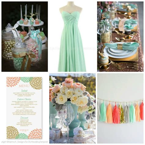 ruby wedding inspiration mint green teal and gold wedding color palette idea mint peach metallic gold burgh