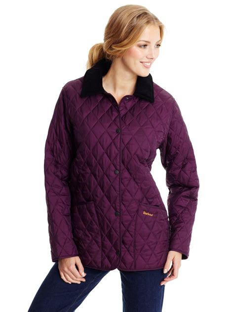 barbour shaped liddesdale quilted jacket in purple lyst