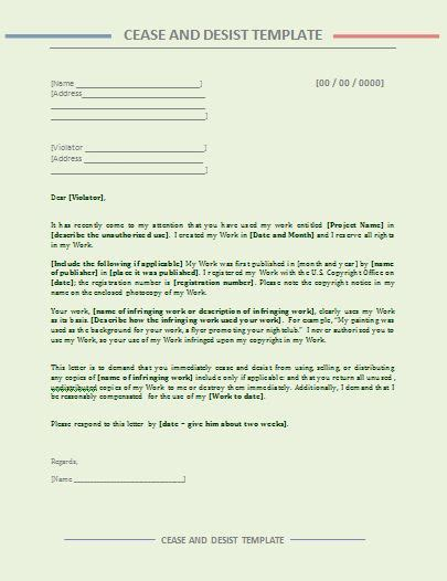 cease and desist letter template free word s templates