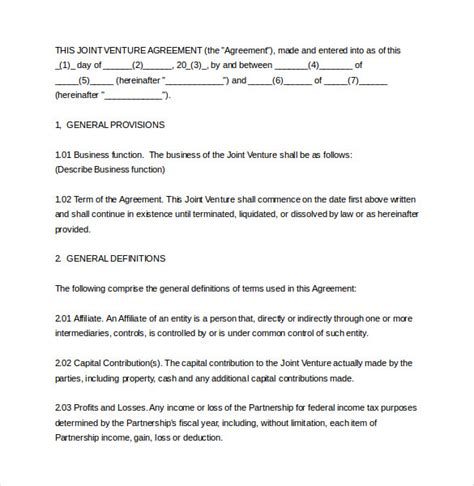 joint venture agreement template doc joint venture agreement template 13 free word pdf