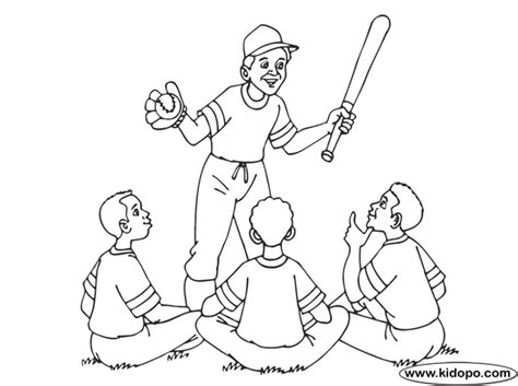 baseball coach team coloring page