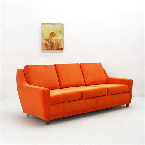 70s style sofa reupholstered 70s lounge sofa in bright orange 69013