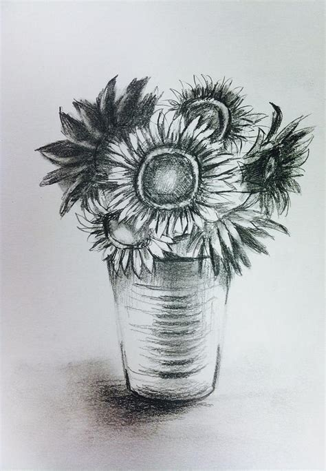 How To Draw Sunflowers In A Vase sunflowers on silver vase drawing by hae