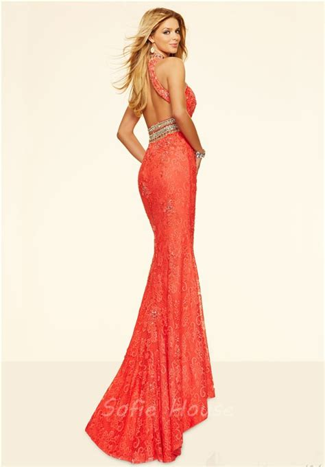 high neck beaded prom dress formal high neck open back coral lace beaded evening
