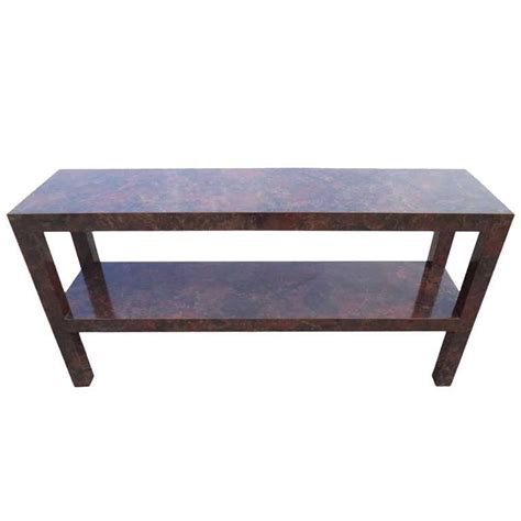 parsons sofa table with faux tortoise shell laminate for