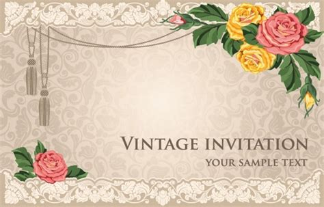 invitation card design in powerpoint european classical background 01 vector free vector in