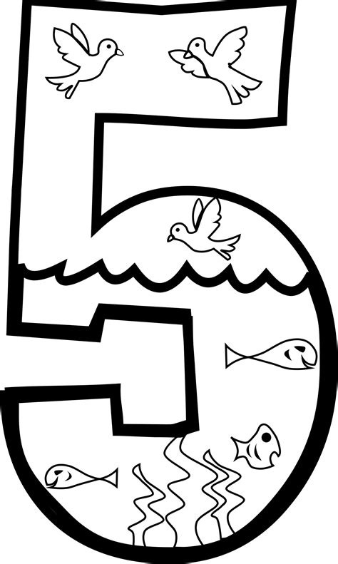 Creation Coloring Pages Day 1 by Clipart Creation Day 5 Coloring Page