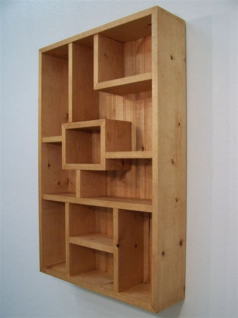 modern wood wall art display shelves from