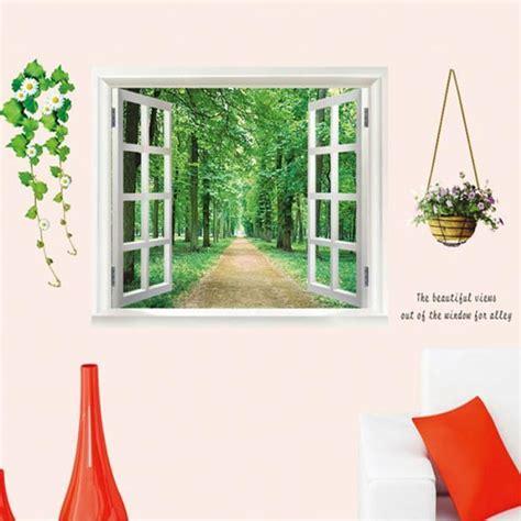 chambre post駻ieure de l oeil eozy sticker mural 3d trompe l oeil fen 234 tre paysage 90cm x