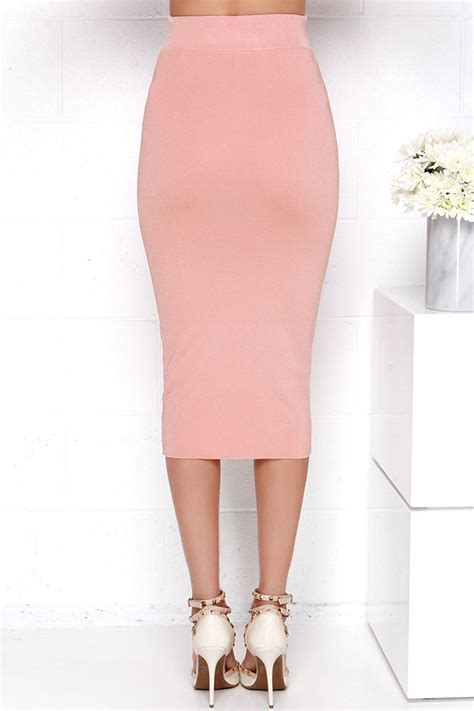 bodycon midi skirt blush pink skirt 43 00