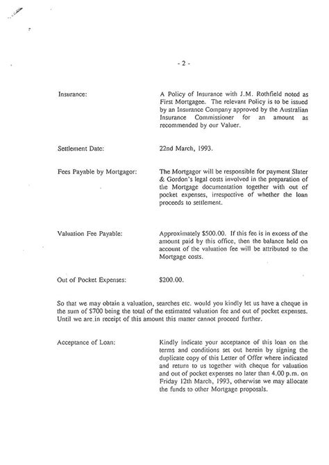 Loan Letter Of Offer Sle The Awu Slater And Gordon Help Wilson Blewitt Out With A Mortgage Michael Smith News