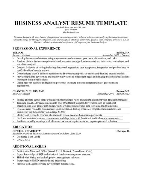 Resume Business Analyst Project Management 10 best images about best business analyst resume