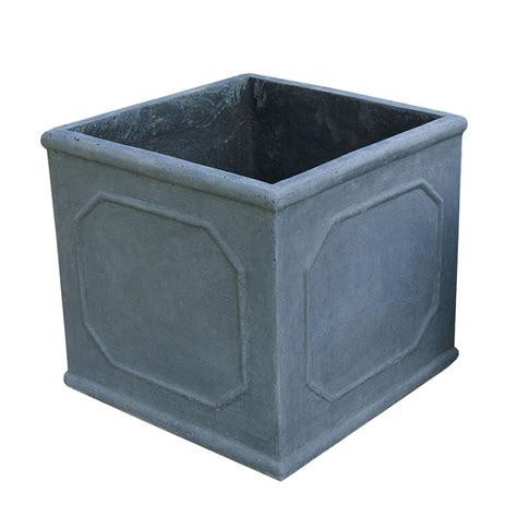 napa 17 in frame grey cube fiber clay planter lt3501 c