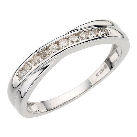 9ct white gold 15pt crossover eternity ring