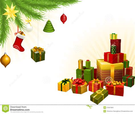 christmas tree decorations and gifts stock vector image