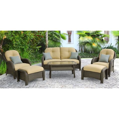 shop outdoor furniture shop hanover outdoor furniture newport 6 wicker patio conversation set at lowes