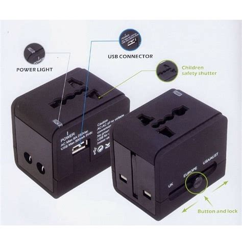 Universal Travel Adapter 4 In 1 Eu Uk Usa With 1a Usb Port universal travel adapter 3 in 1 eu uk usa with 0 5a usb port black jakartanotebook
