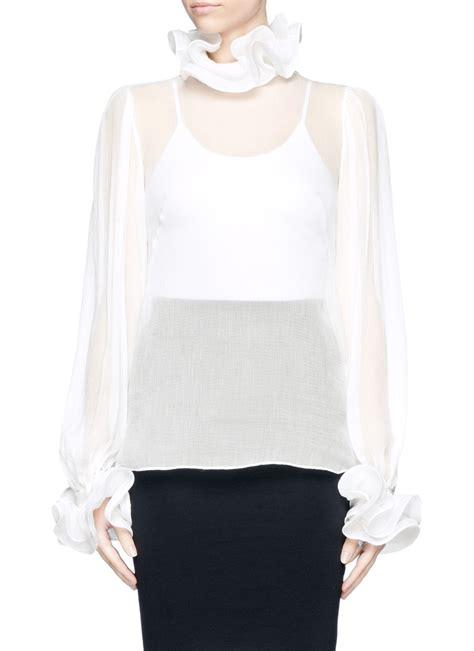 white sheer silk blouses for women alexander mcqueen ruffle collar sheer silk blouse in white