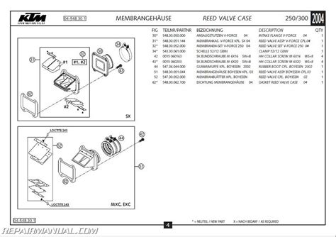Ktm Parts List 2004 Ktm 250 300 Sx Mxc Exc Engine Spare Parts Manual