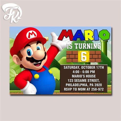 Mario Birthday Card Template by Mario Bross Design Birthday Card Digital