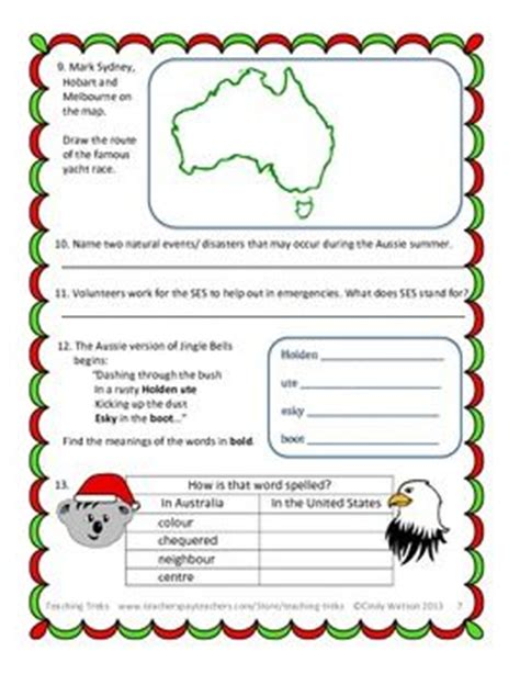 australian christmas worksheets kindergarten 1000 ideas