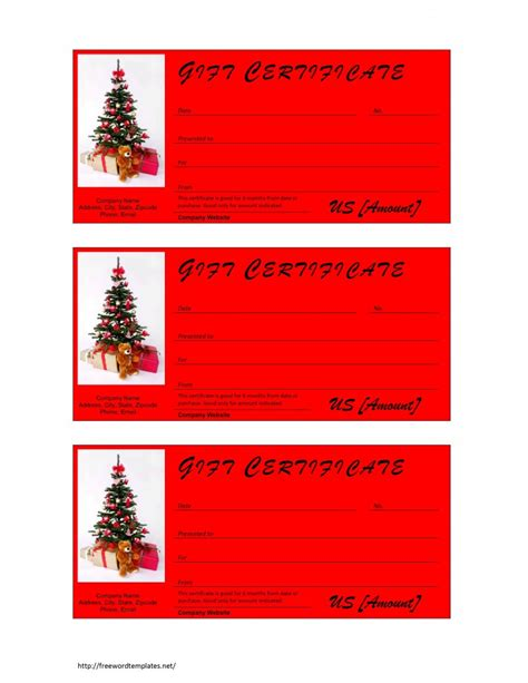 templates gift certificates christmas christmas gift certificate template