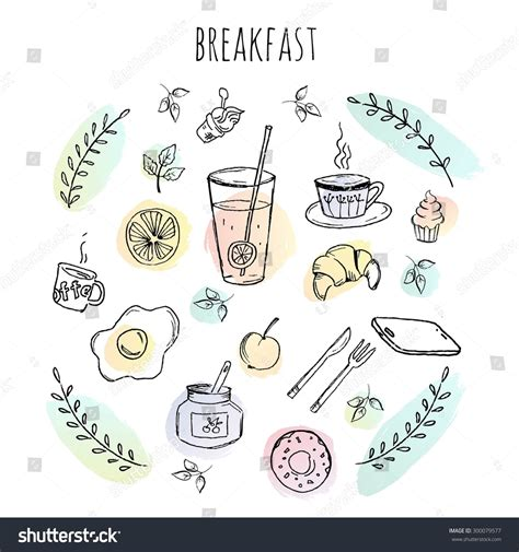 doodle food icons vector breakfast food icons doodle set set stock vector 300079577