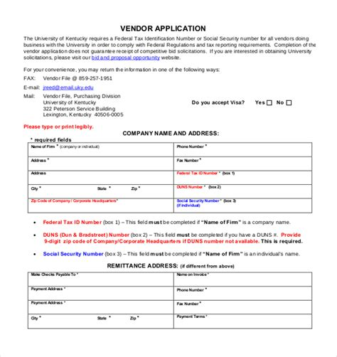 vendor form template vendor application template 12 free word pdf documents