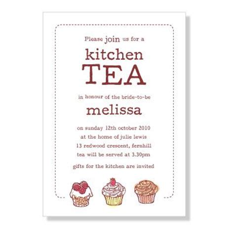 cupcake kitchen tea invitation handmade cards