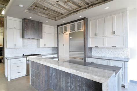 Rustic Grey Kitchen Cabinets by Rustic Chic Grey And White Kitchen Rustic Montreal