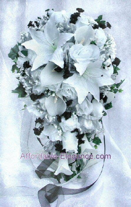 white black silver wedding set roses lilies silk wedding flowers bouquet ebay