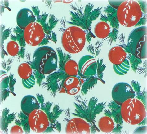 retro vintage christmas ornament wrapping paper