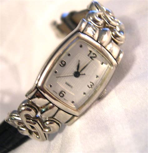 avon ladies silver tone   leather band