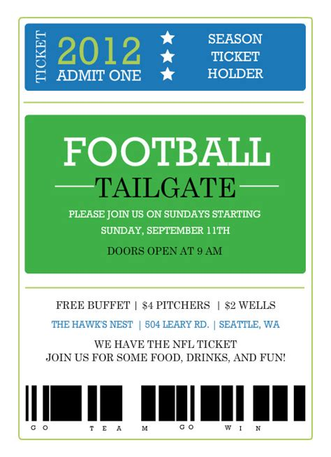 birthday football ticket invitation party invitations ideas