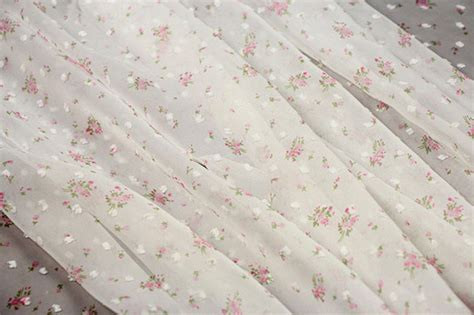 Pattern Chiffon Fabric | 50d rural style floral applique design chiffon fabric for