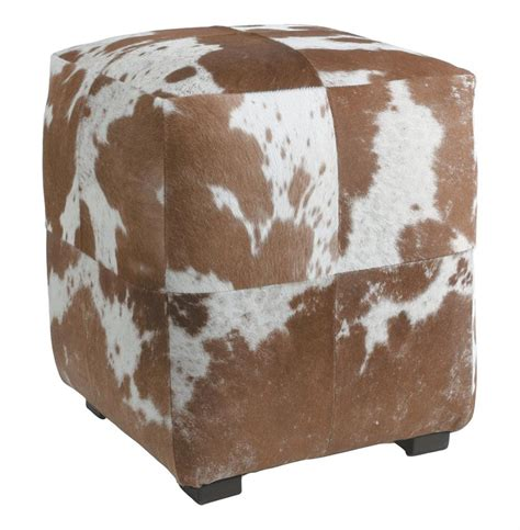 Hide Ottoman Otto Brown White Hair On Hide Modern Rustic Ottoman Kathy Kuo Home